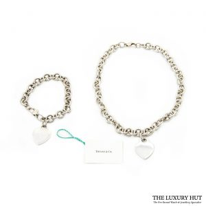 Shop Vintage Tiffany & Co. Plain Heart Link Necklace order online today for next day delivery