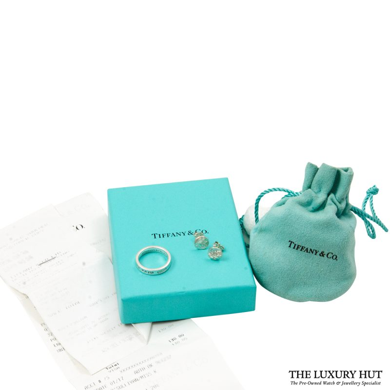 Shop Tiffany & Co. 1837 Sterling Silver Band Ring & Earrings
