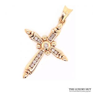9ct Yellow Gold Certified Diamond Cross Pendant