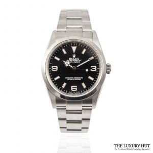Shop Rolex Explorer Black Dial Watch Ref: 114270